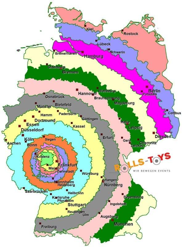 Die verschiedenen Lieferzonen in Deutschland der Firma Rolls-Toys