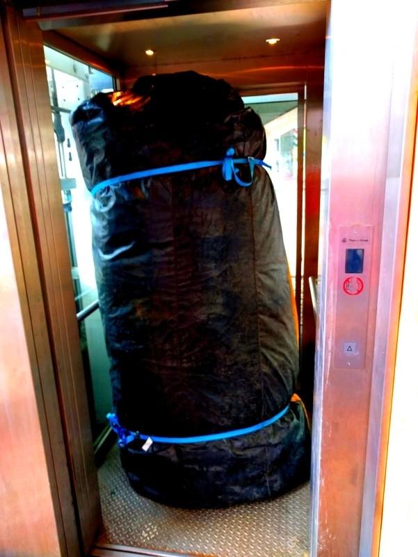 Kletterberg fährt Aufzug