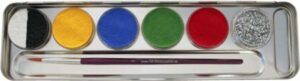 5 Farben 1 Glitzer Metall-Palette