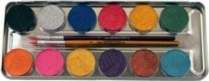 12 Perlglanz-Farben Metall-Palette