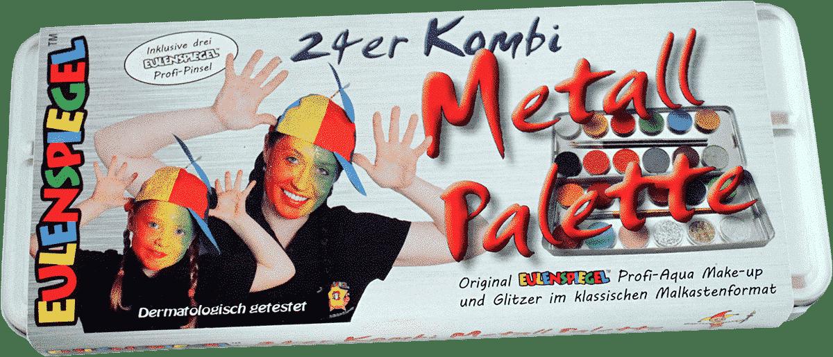 24er Kombi Metall Palette mit Pinseln und Glitzer zum Kinderschminken