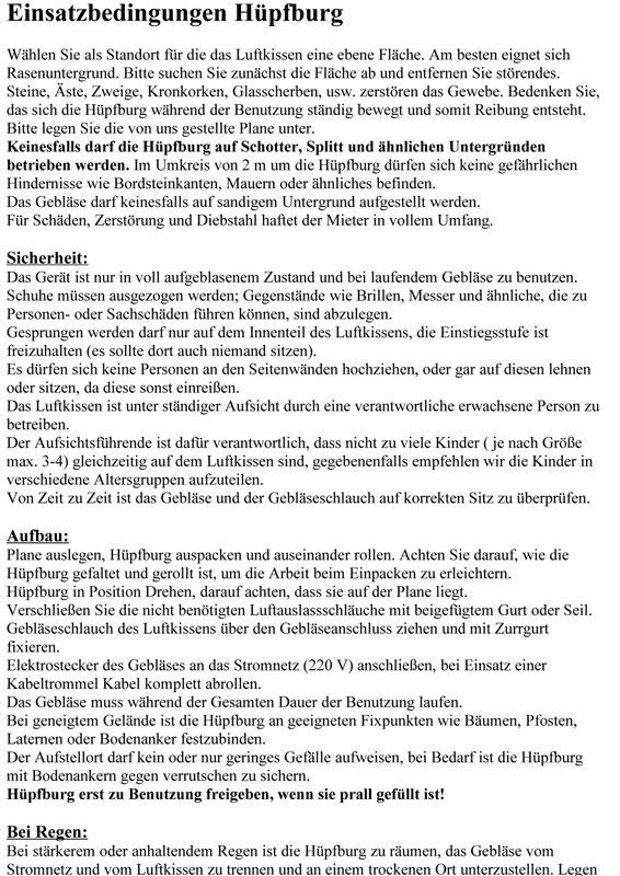Einsatzbedingungen Hüpfburg