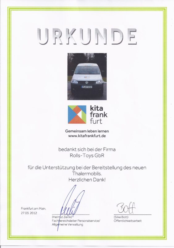 Kitamobil Frankfurt Urkunde