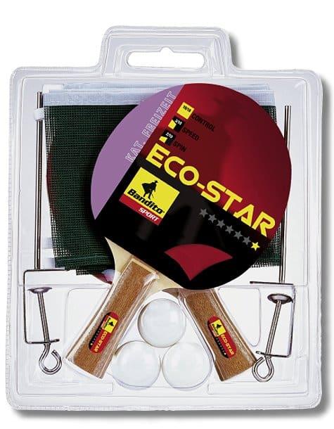 Tischtennis Komplett Set Eco Star (2 Schläger, 3 Bälle + Netz)